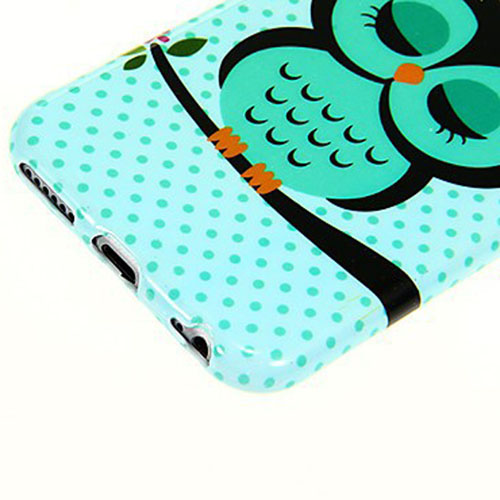 Sleepy Owl Pattern Smooth Surface TPU Soft Back Cover