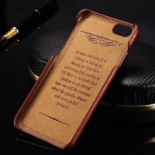 Luxury Wax PU Leather Fashion Logo Card Slot Back Cover