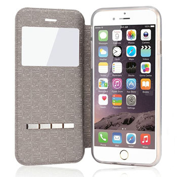 Window Matte Leather Magnetic Sliding Answer Flip Cover