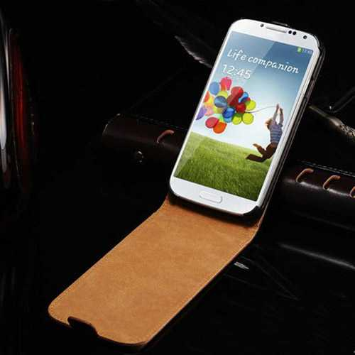 S4 Luxury Genuine Leather Flip Style Case Phone Bag Cover