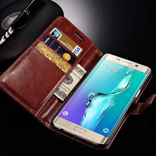 S6 Edge Plus Luxury Leather Card Slot Copa Funda Cover