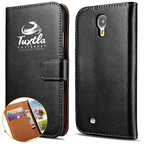 S4 Wallet Flip Genuine Leather Stand Case with  Plastic Back Cover