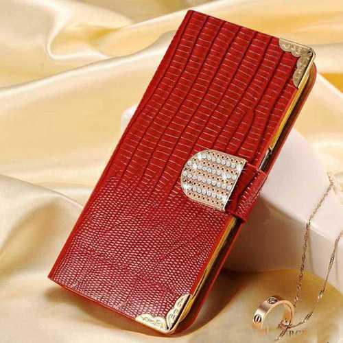 S6 Edge PU Leather Flip Wallet Bling Rhinestone Luxury Coque