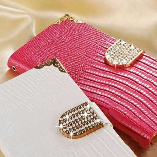 S6 Edge PU Leather Flip Wallet Bling Rhinestone Luxury Coque