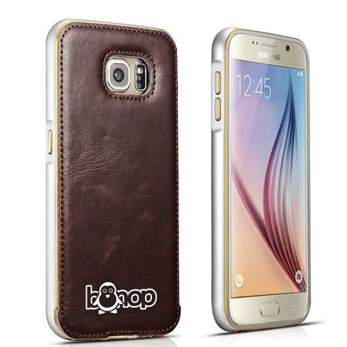 S6 Aluminum Metal PU Leather Coque Back Business Style Cases