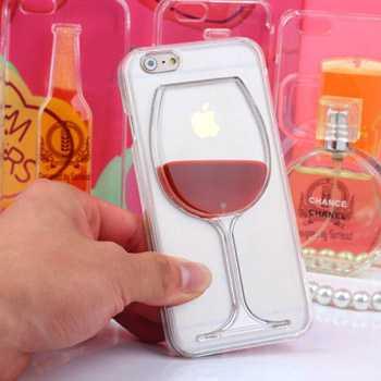 Liquid Red Wine Glass Transparent Phone Case