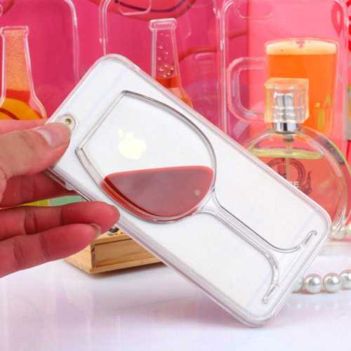 Liquid Red Wine Glass Transparent Phone Case