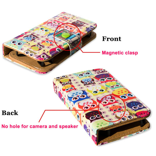 Leather Skin Wallet Stand Case Printed Phone Case