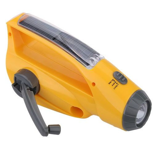 Emergency Portable Solar Power Crank With LED Flashlight Image 2