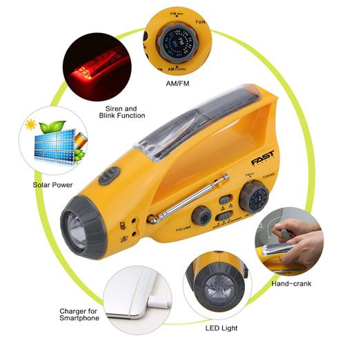 Emergency Portable Solar Power Crank With LED Flashlight Image 4