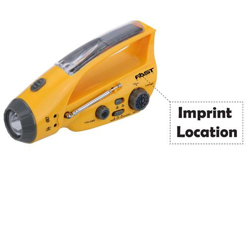 Emergency Portable Solar Power Crank With LED Flashlight Imprint Image