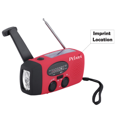 Solar Handcrank Self Powered Radio With 3 LED Imprint Image