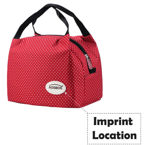 Insulated Portable Canvas Thermal Food Lunch Bag Imprint Image