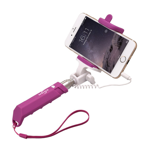 Silicon Wired Monopod Selfie Stick With Built-In Shutter Image 2