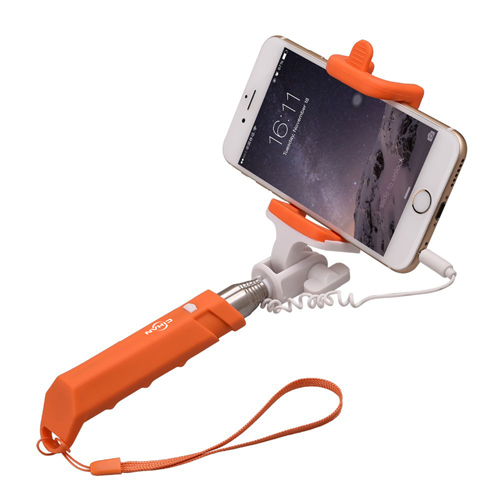 Silicon Wired Monopod Selfie Stick With Built-In Shutter Image 4
