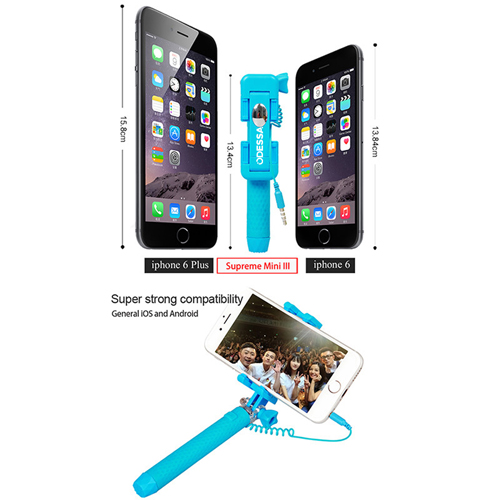 Extendable Super Mini Wired Monopod Selfie Stick Image 5