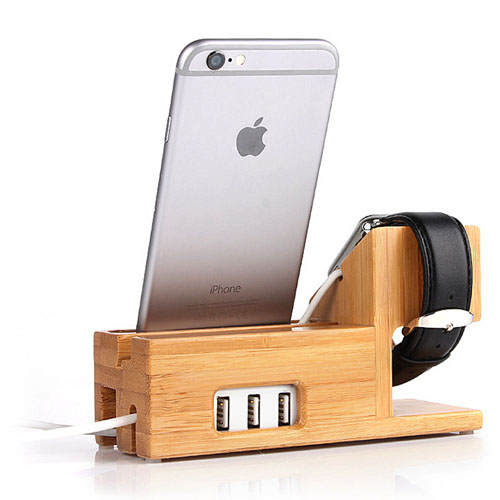 Bamboo Watch Mobile Phone Display Holder Image 2