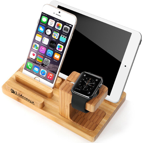 Natural Bamboo Wood Charger Stand Holder