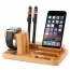 Natural Bamboo Wood Charger Stand Holder Image 1