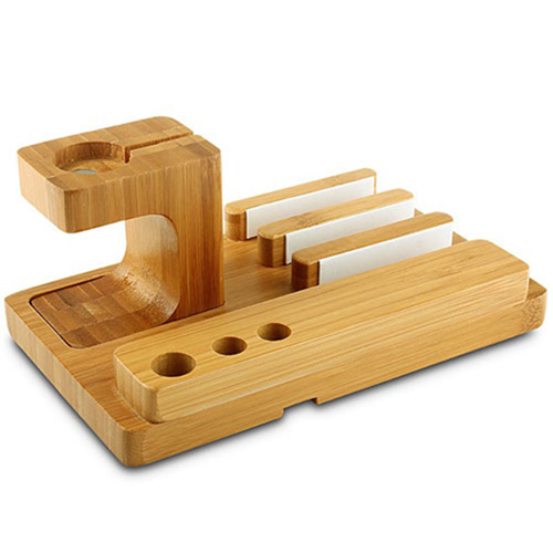 Natural Bamboo Wood Charger Stand Holder Image 2