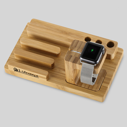 Natural Bamboo Wood Charger Stand Holder Image 4
