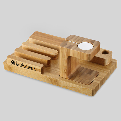 Natural Bamboo Wood Charger Stand Holder Image 5