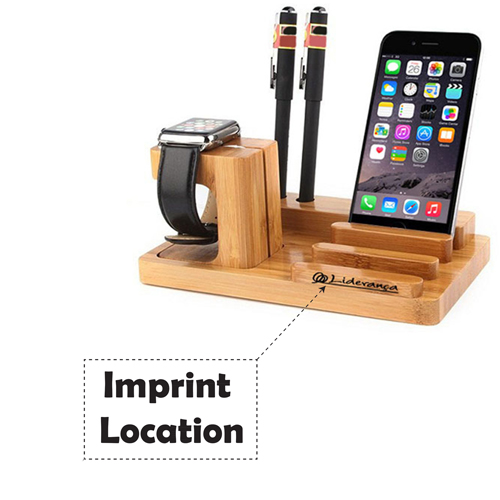 Natural Bamboo Wood Charger Stand Holder Imprint Image