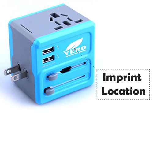 All In One 2 USB Port Travel AC Charger Adaptor Imprint Image