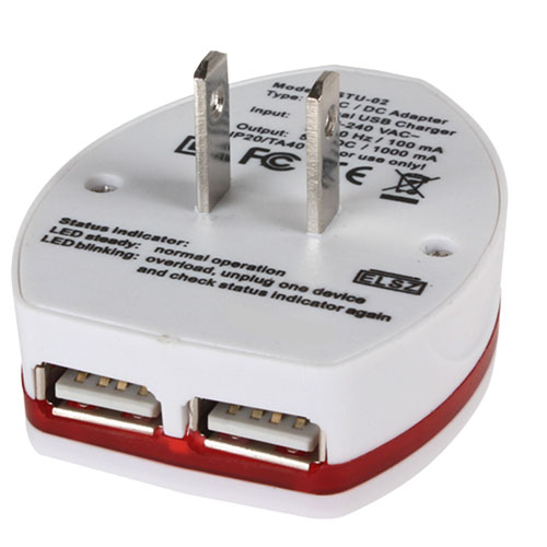 2 USB Port World Travel AC Power Charger Adapter Image 2