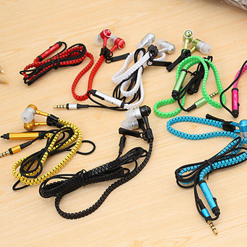 Metal Zipper Earphone Headphone Image 1