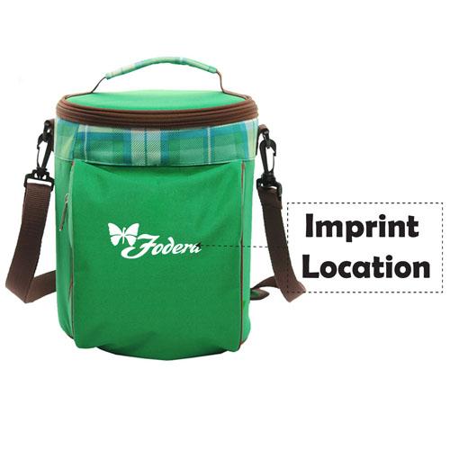 Portable Drum Shaped Thermal Shoulder Bag Imprint Image