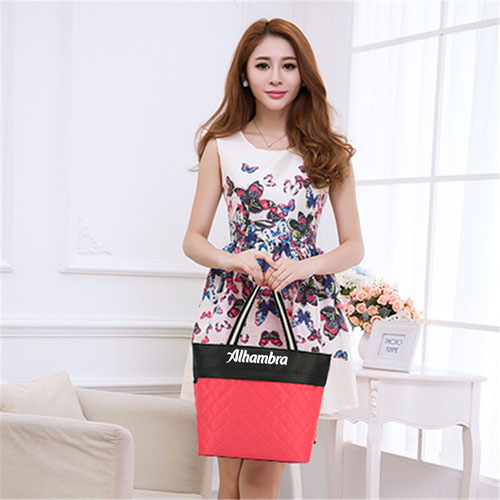 Women Patchwork Cotton Tote Shopping Bag Image 4