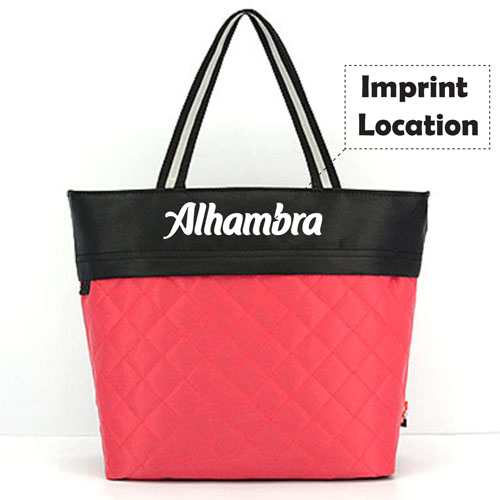 Women Patchwork Cotton Tote Shopping Bag Imprint Image