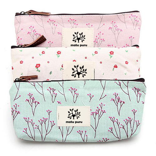 Floral Pencil Pen Case Cosmetic Storage Pouch