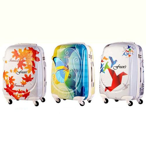 Excellent 3D Cut Leafs Trolley Suitcase Image 2
