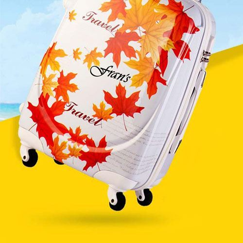 Excellent 3D Cut Leafs Trolley Suitcase Image 3