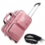 Portable Genuine Leather Trolley Suitcase