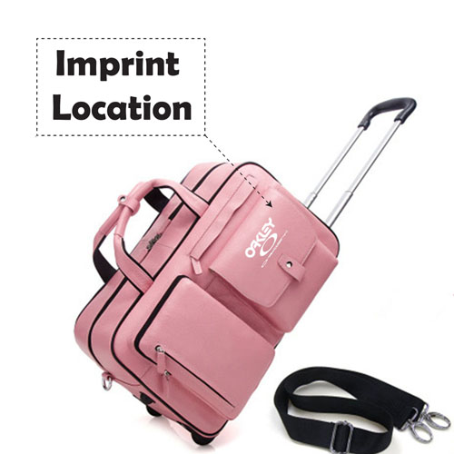 Portable Genuine Leather Trolley Suitcase Imprint Image