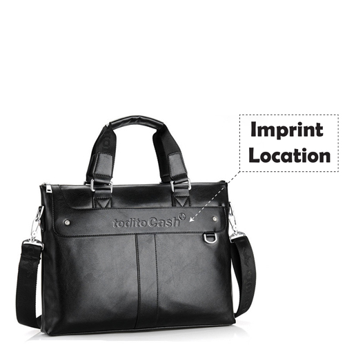 Premium Leather Briefcase Bag Imprint Image