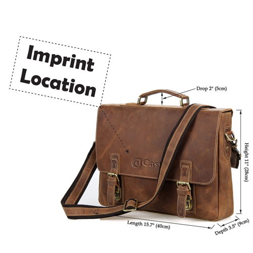 Maxwell Vintage horsehide Leather Laptop Bag Imprint Image