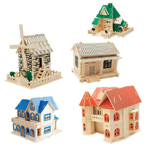 Construction 3D Wooden House Puzzle Image 3