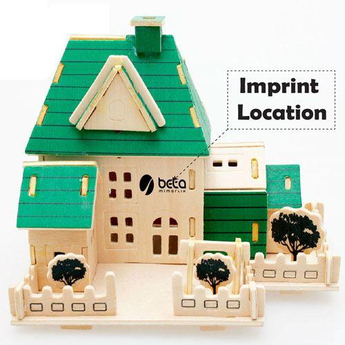 Construction 3D Wooden House Puzzle Imprint Image