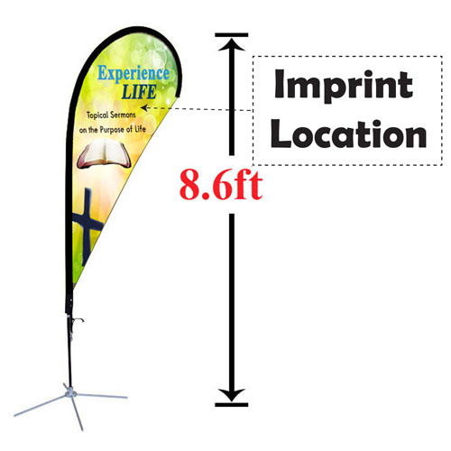 Double Sided Custom Teardrop Advertising 8' Flag Imprint Image