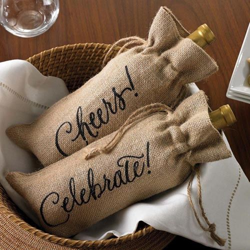 Celebrate Printed on Burlap Jute Wine Reusable Bags