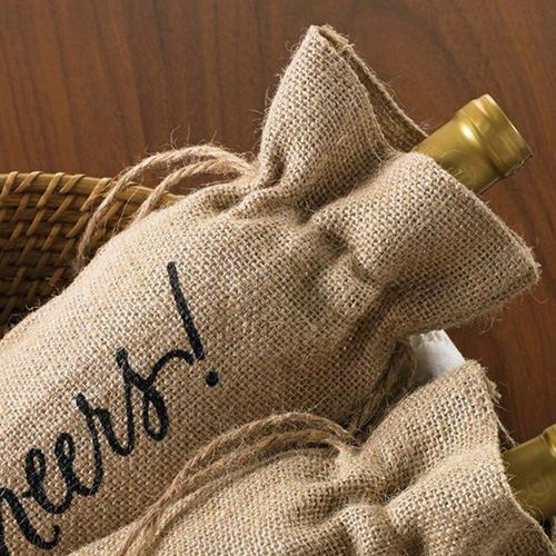Celebrate Printed on Burlap Jute Wine Reusable Bags Image 1