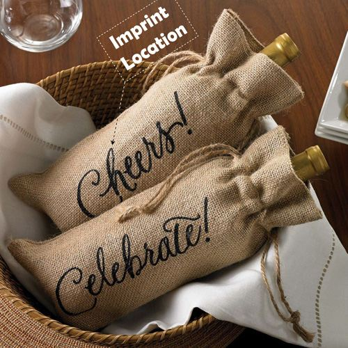 Celebrate Printed on Burlap Jute Wine Reusable Bags Imprint Image