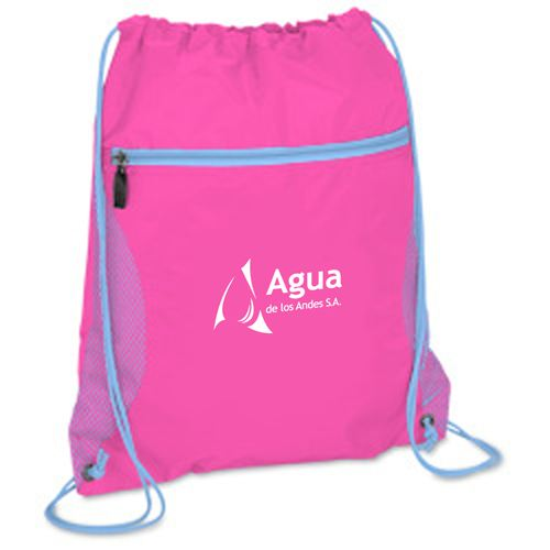 Solid Color Printing Drawstring Backpack Image 1