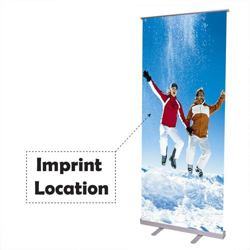 Adjustable 32x79 Inch Retractable Roll Up Banner Stand Imprint Image