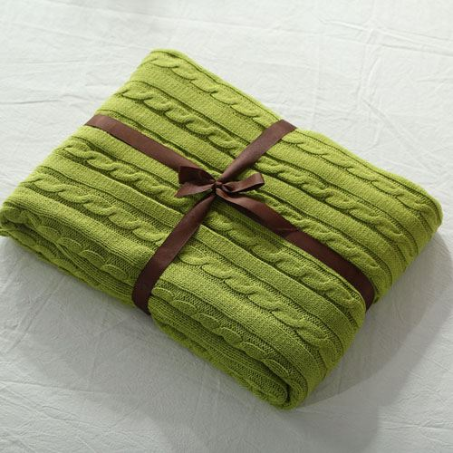 Striped Knitted Cotton Blanket