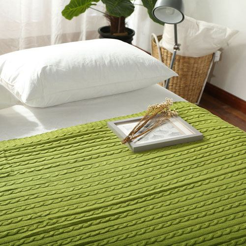 Striped Knitted Cotton Blanket Image 1